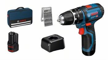 Bosch GSB 12V-15 Professional ( 2x 2,0 Ah Akku + Ladegerät + Bitset)