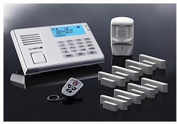 Olympia Protect 9035 Plus Alarmanlagen GSM Funk Set mit 1 Bewegungsmelder, 8 Tür/Fensterkontakten und Fernbedienung.