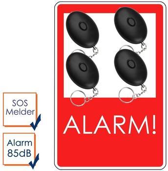 smartwares 4er-Set Mini-Taschenalarm Überfallalarm SOS-Notruf Personen-Alarm 85dB