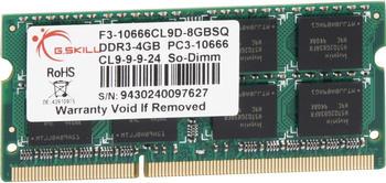 G.SKill 4GB SO-DIMM DDR3 PC3-10600 (F3-10666CL9S-4GBSQ) CL9