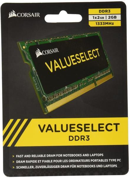Corsair 2GB SO-DIMM DDR3 PC3-10600 (CMSO2GX3M1A1333C9) CL9