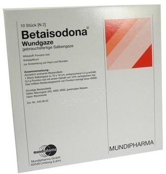 Mundipharma Betaisodona Wundgaze 10 x 10 cm (10 Stk.)