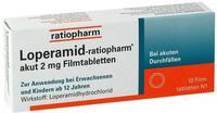 Ratiopharm LOPERAMID ratiopharm akut 2 mg Filmtabletten 10 St