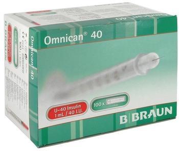 B. Braun Omnican 40 1,0ml Insulinspritze U-40 0,30 x 12mm (100 Stk.)