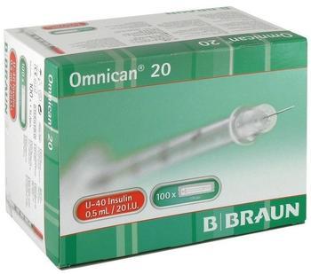 B. Braun Omnican 20 0,5 ml Ins.Spr.U-40 0,30 x 8 mm Einzelv. 100X