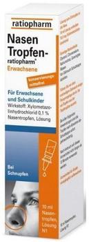 ratiopharm NASENTROPFEN ratiopharm Erwachs.Konservier.frei 10 ml