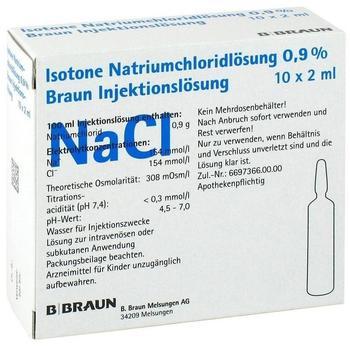 B. Braun Kochsalzlösung 0,9% Amp. (10 x 2 ml)