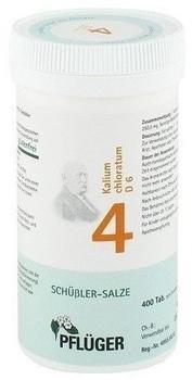 A. Pflüger GmbH & Co KG Biochemie Pflüger Nr. 4 Kalium chloratum D 6 Tabletten 400 St.