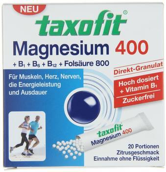 Taxofit Magnesium 400 + B1 + B6 + B12 + Folsäure 800 Direktgranulat (20 Stk.)