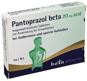 Betapharm Arzneimittel GmbH PANTOPRAZOL beta 20 mg acid magensaftres.Tabletten 14 St