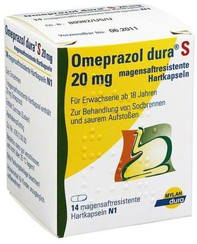 MYLAN DURA GMBH OMEPRAZOL dura S 20 mg magensaftresist.Hartkapseln 14 St