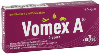Vomex A Dragees 50 mg überzogene Tabletten (10 Stk.)