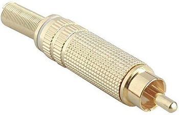 InLine Cinchstecker Lötversion, Metall gold, Ring rot, für 6mm Kabel