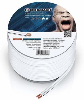 Oehlbach Speaker Wire SP-7 Lautsprecherkabel 2 x 0,75 mm², Mini-Spule weiß 20.00 m