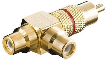 Goobay Audio-Adapter mit rotem Farbring Cinch Stecker > 2x Cinch Kupplung-vergoldet