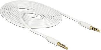 DeLock Klinke 3,5mm 4Pin > 3,5mm Stecker 4Pin weiß, 1 Meter