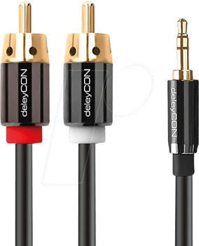 deleyCON PREMIUM Stereo 3,5mm Klinke zu 2x Cinch 1m