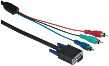Hama Video-Verbindungskabel (3x Cinch-Stecker auf HDD-Stecker, 15-polig, 2m) schwarz