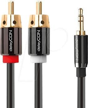 deleyCON PREMIUM Stereo 3,5mm Klinke zu 2x Cinch 3m
