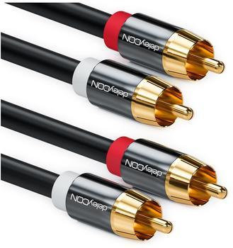 deleyCON Cinch Kabel - 2x RCA Stecker zu 2x RCA Stecker 10m