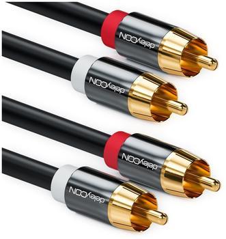 deleyCON Cinch Kabel - 2x RCA Stecker zu 2x RCA Stecker 3m