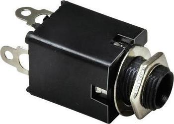TRU Components Klinken-Steckverbinder 6.35 mm Buchse, Einbau vertikal Polzahl: 3 Stereo Silber