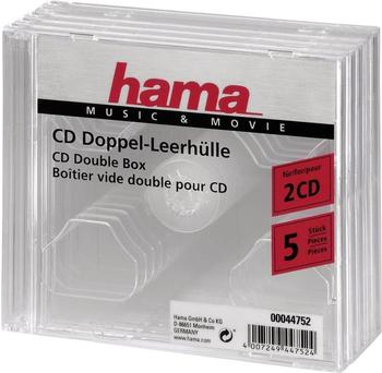Hama 44752 CD-Doppel-Leerhülle (5er-Pack, transparent)