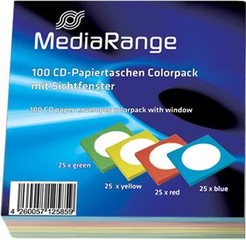 MediaRange BOX65 50er-Pack CD-Papiertaschen mit Lasche und Sichtfenster