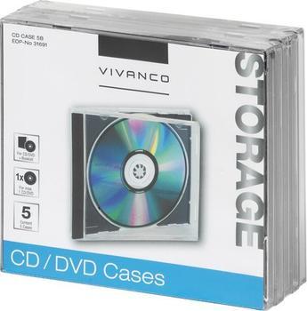 Vivanco 31691 CD/DVD Jewel Case schwarz (5er Pack)
