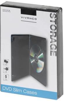 Vivanco 31714 DVD Slim Case schwarz (5er Pack)