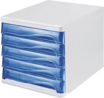 Helit Box 5 Schubladen blau/transparent (H61299-30)