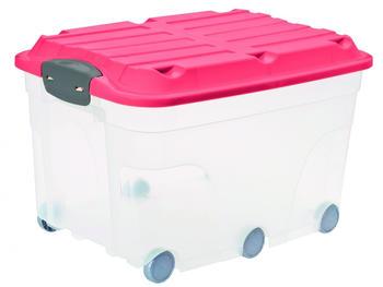 rotho-aufbewahrungsbox-roller-57l-transparent-pink