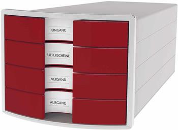 HAN Impuls New Design 4 Schubladen geschlossen lichtgrau/rot