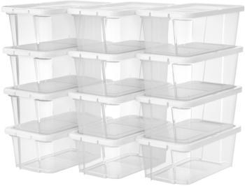 Songmics Ordnungsbox mit Deckel 12er Set transparent/weiß (LSP12WT)