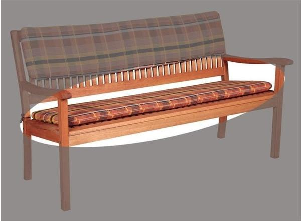 Doppler Bankauflage 150x45cm 3-Sitzer Karo terra
