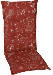 GO-DE Mittellehner-Auflage 50x110x6cm rot Blumen/Stengel rot (19245-25)