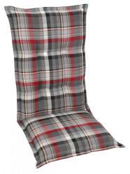 GO-DE Sessel-Auflage hoch grau rot kariert 120x50x9cm (24519-01)