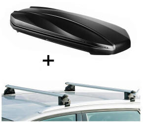 VDP STRIKE schwarz matt + Relingträger CRV107A kompatibel mit LandRover Discovery Sport 5 Türer ab 2015