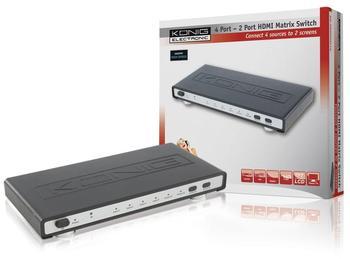 König KN-HDMIMAT10 4 Port auf 2 Port HDMI Matrix Schalter