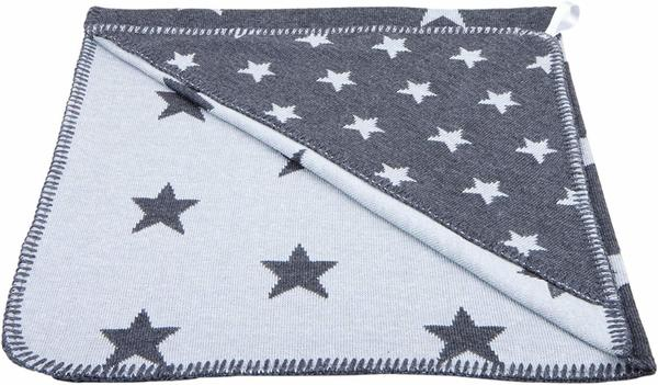 Baby's Only Kapuzenbadetuch Sterne gestrickt anthrazit grau
