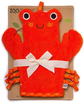 Zoocchini Baby Snow Terry Bath Mitt - Charlie the Crab