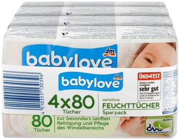 Babylove Feuchttücher Sensitive (4 x 80 Stk.)