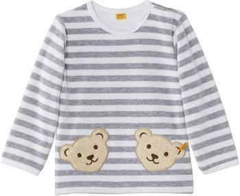 Steiff Nicki-Sweatshirt mit 2 Bärenköpfen weiß-grau
