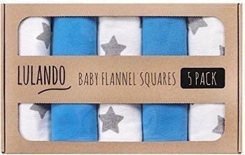 Lulando 5er Set Moltontücher (70x80cm) - Sternchen Grau Blau