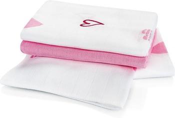 Makian Herzen (80 x 80 cm) 3er Pack Weiß Rosa