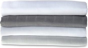 Makian Mullwindeln (70 x 70 cm) 4er Pack Grau Weiß