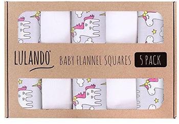 Lulando Baby Flannel Squares 5 Pack (70x80cm) Unicorns