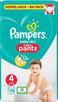 Pampers Baby Dry Pants Gr. 4 9-15 kg 58 Stück