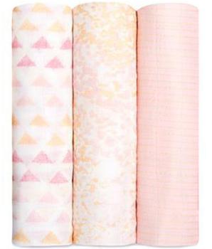 Aden + Anais Silky soft swaddle set 120 x 120 cm 3-pack Metallic Primrose Birch