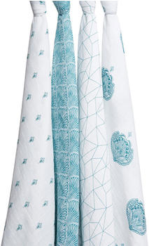 Aden + Anais Muslin Swaddle 120 x 120 cm (Pack of 4) Paisley Teal
